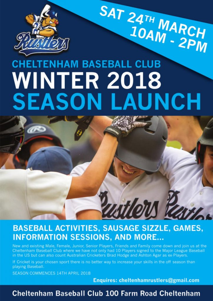 Cheltenham Baseball Club Winter 2018 Season Launch